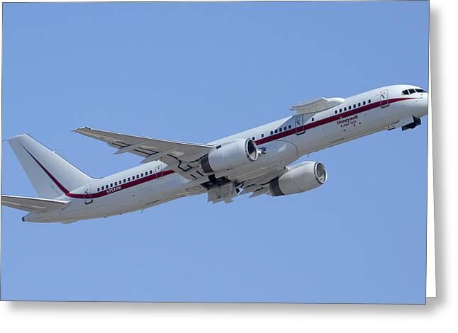 Honeywell Boeing 757 Engine Testbed N757hw Phoenix August 9 2013 Greeting Card by Brian Lockett