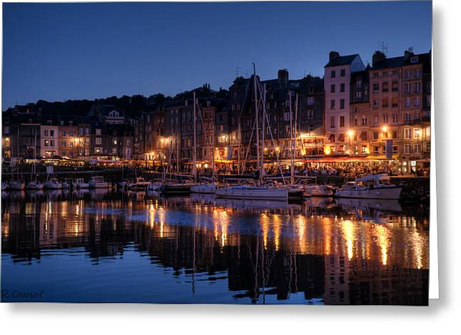 Honfleur At Night Greeting Card by CR  Courson