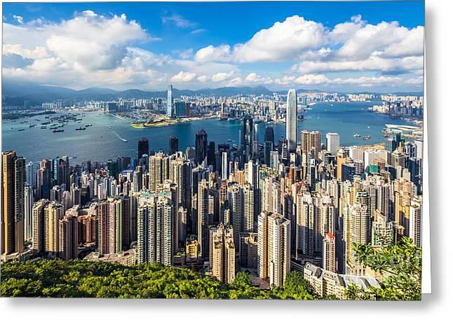 Hong Kong 01 Greeting Card by Tom Uhlenberg