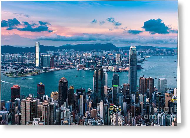 Hong Kong 03 Greeting Card by Tom Uhlenberg