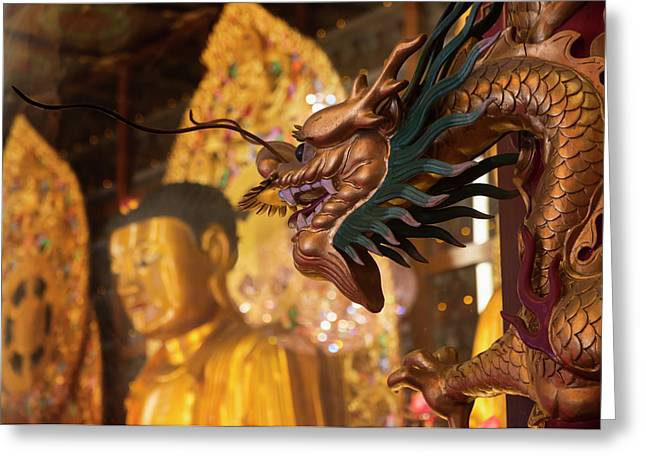 Hong Kong, China. Ten Thousand Buddhas Greeting Card by Ken Welsh