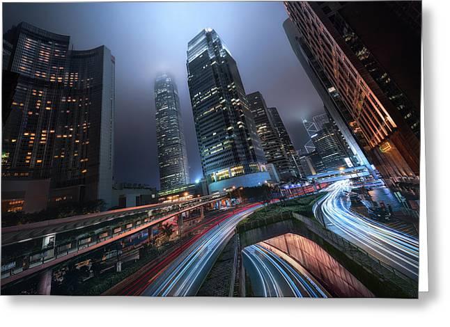 Hong Kong City Lights Greeting Card