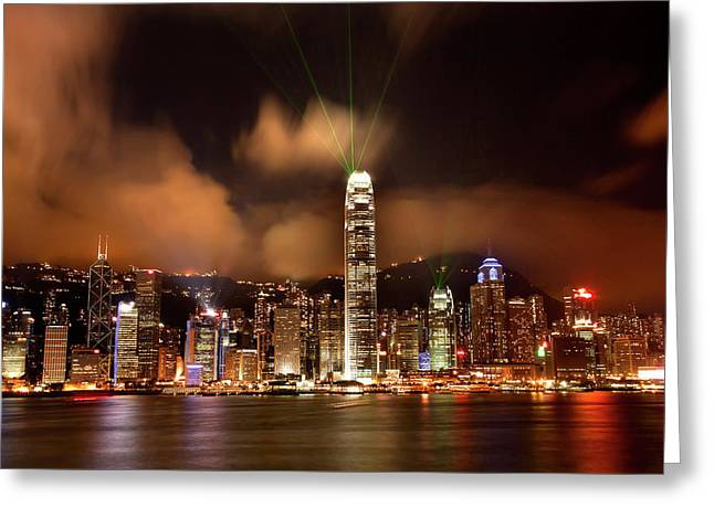 Hong Kong Harbor At Night Lightshow Greeting Card by William Perry