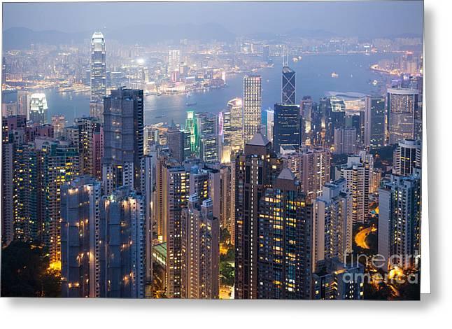 Hong Kong Harbor From Victoria Peak At Night Greeting Card by Matteo Colombo