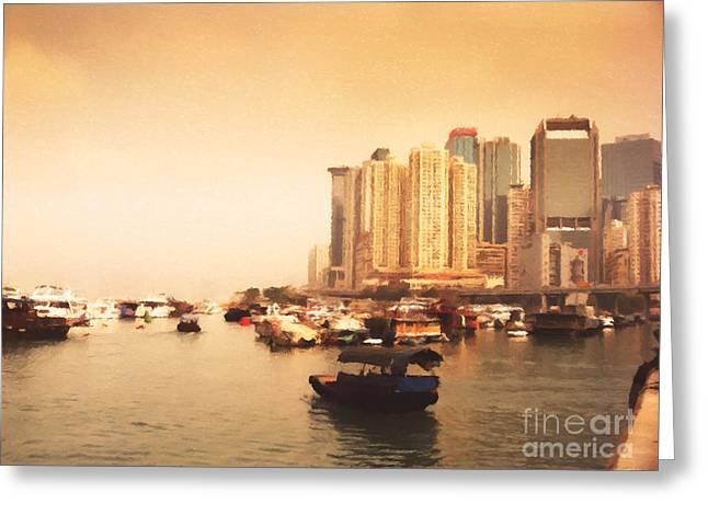 Hong Kong Harbour 02 Greeting Card by Pixel Chimp