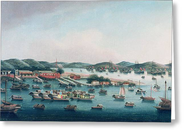 Hong Kong Harbor Greeting Card by Cantonese School