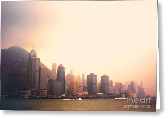Hong Kong Harbour Sunset Greeting Card by Pixel  Chimp