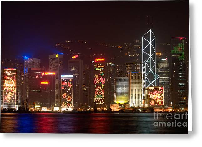Hong Kong Holiday Skyline Greeting Card by Ei Katsumata