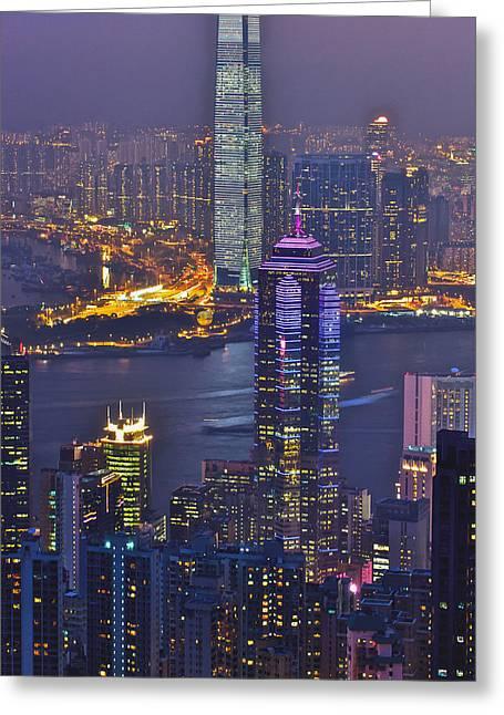 Hong Kong Night View At Victoria Peak Greeting Card by Hisao Mogi
