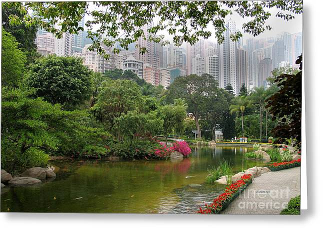 Greeting Card featuring the photograph Hong Kong Park by Art Photography