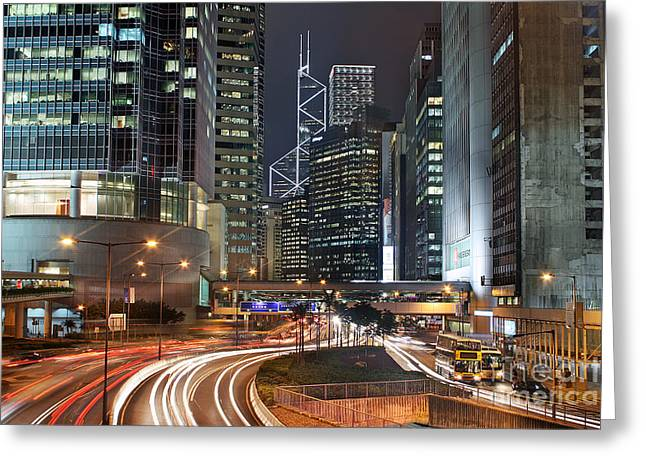 Hong Kong Rush Hour Greeting Card by Lars Ruecker