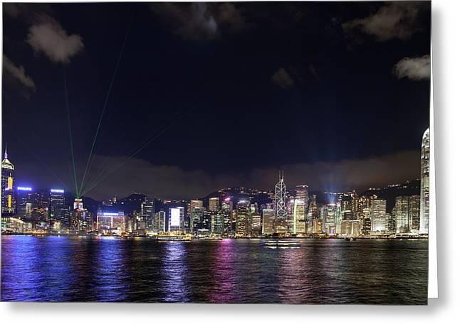 Hong Kong Symphony Of Lights Show Greeting Card