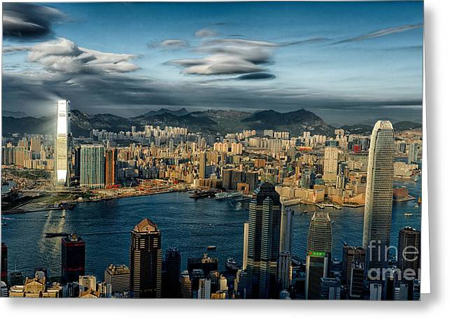 Hong Kong Victoria Bay Greeting Card by Thierry CHRIN