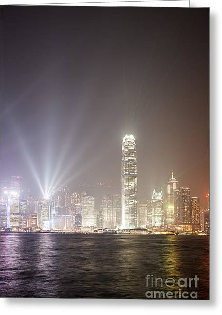 Hong Kong Victoria Harbor At Night With Light Show Greeting Card by Matteo Colombo