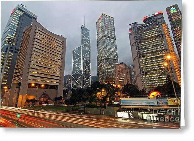 Hong Kong's Financial Center Greeting Card by Lars Ruecker