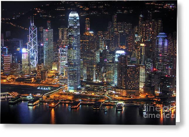 Hong Kong's Skyline At Night Greeting Card by Lars Ruecker