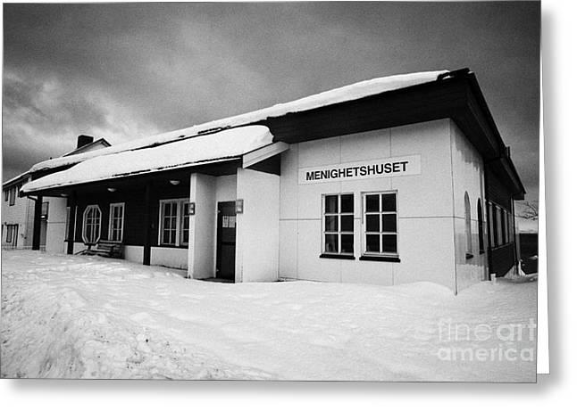 Honningsvag Church Parish Hall Menighetshuset Finnmark Norway Europe Greeting Card