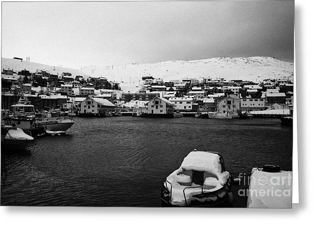 Honningsvag Harbour And Bryggen View  Finnmark Norway Europe Greeting Card