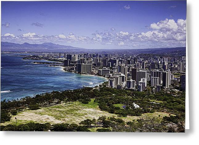Honolulu From Diamond Head Greeting Card by Joanna Madloch