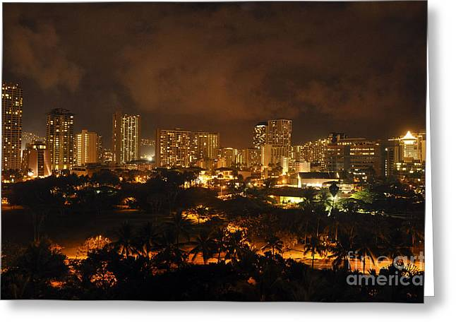 Greeting Card featuring the photograph Honolulu Glow by Gina Savage