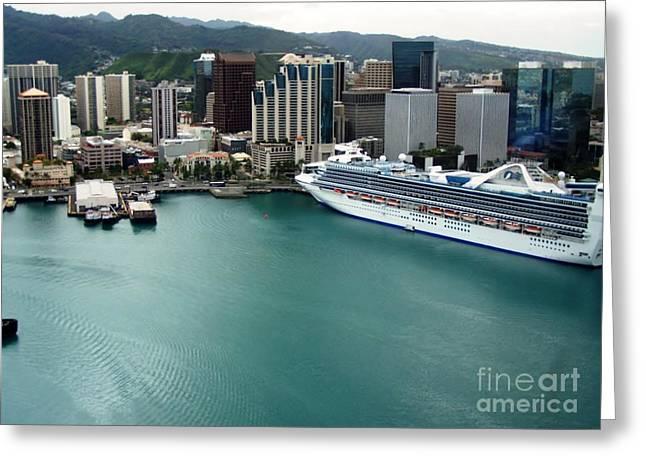 Honolulu Port Greeting Card by Brigitte Emme