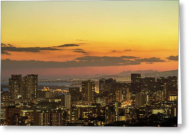 Honolulu Skyline Greeting Card by Babak Tafreshi