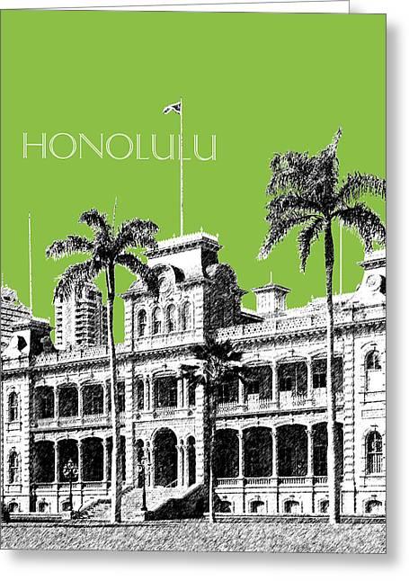 Honolulu Skyline Iolani Palace - Olive Greeting Card by DB Artist