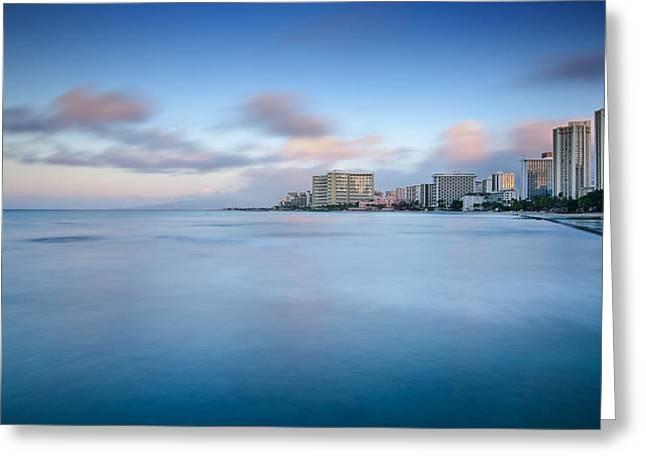 Honolulu Waikiki Early Morning Greeting Card by Tin Lung Chao