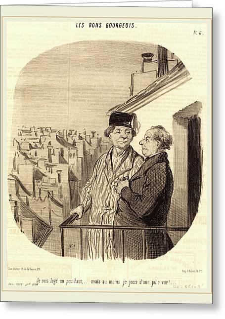 Honoré Daumier French, 1808-1879, Je Suis Logé Un Peu Greeting Card