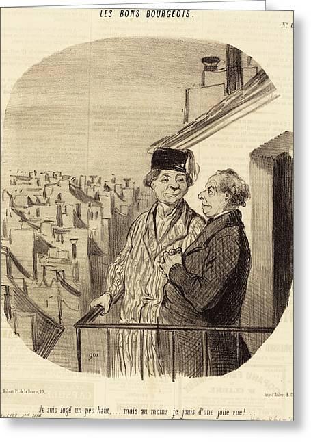 Honoré Daumier French, 1808 - 1879, Je Suis Logé Un Peu Greeting Card