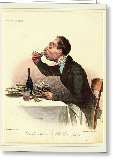 Honoré Daumier French, 1808-1879, Lamateur Dhuitres Greeting Card by Litz Collection
