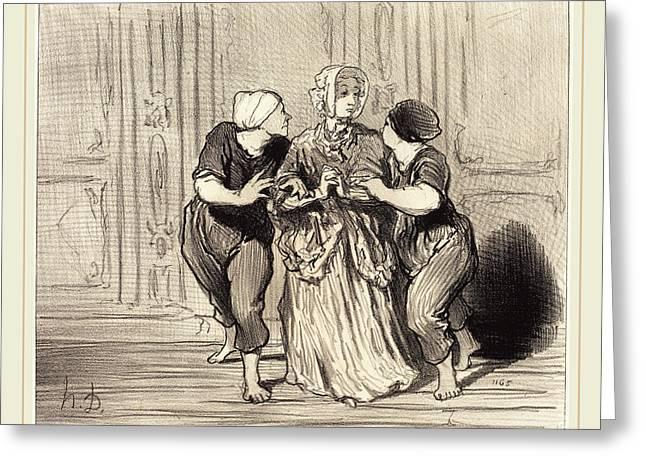 Honoré Daumier French, 1808-1879, Le Beau Sexe A Lécole Greeting Card