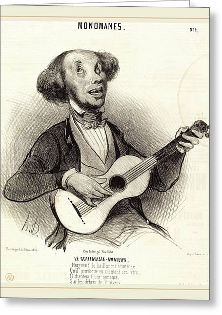 Honoré Daumier French, 1808-1879, Le Guitariste-amateur Greeting Card by Litz Collection