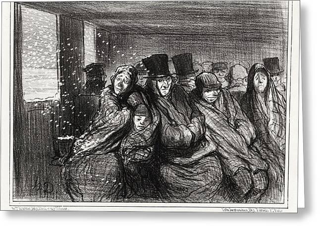 Honoré Daumier, Voyageurs Appréciant De Moins En Moins Greeting Card