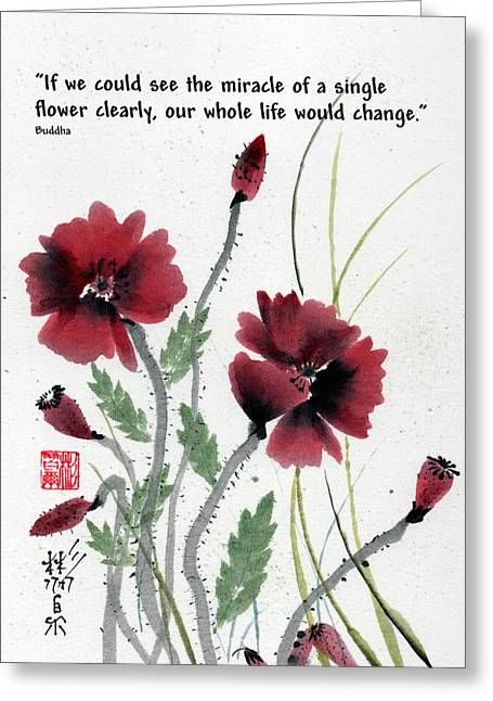 Greeting Card featuring the painting Honor With Buddha Quote I by Bill Searle
