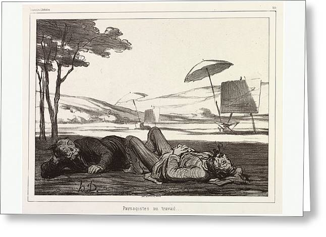 Honore Daumier, 1808 1879, Paysagistes Au Travail Greeting Card by English School
