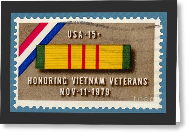 Honoring Vietnam Veterans Service Medal Postage Stamp Greeting Card by Phil Cardamone