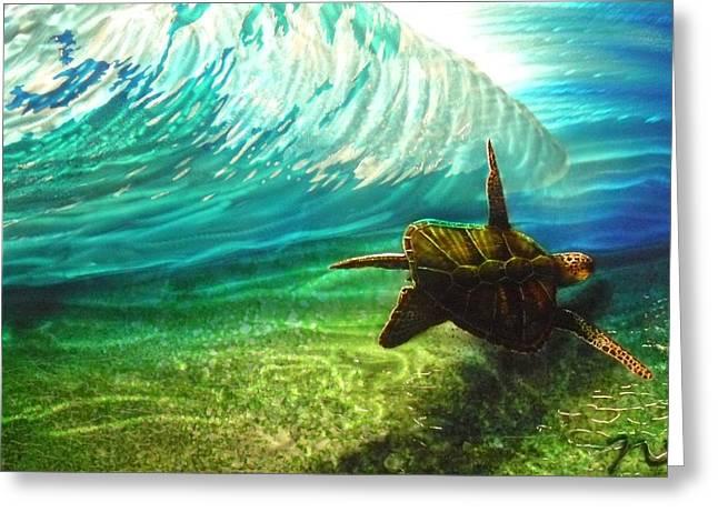 Honu Surf 2 Greeting Card by Nick Knezic