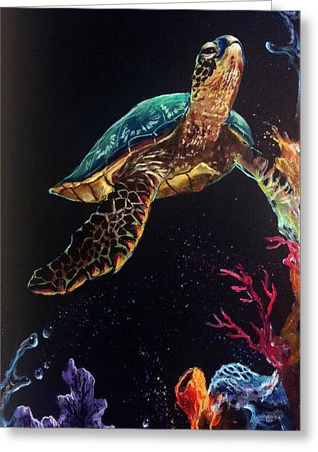 Honu's Reef Greeting Card by Marco Antonio Aguilar