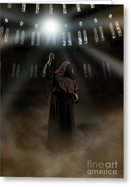 Hooded Man Holding Glowing Wizard Staff  Greeting Card