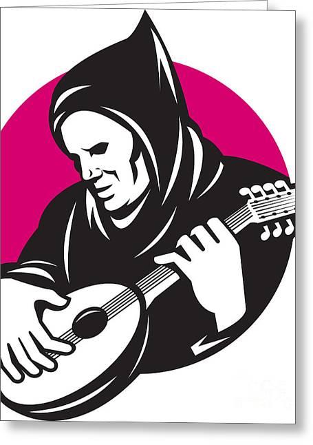 Hooded Man Playing Banjo Guitar Greeting Card by Aloysius Patrimonio