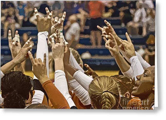 Hook 'em Horns Greeting Card by Tom Gari Gallery-Three-Photography