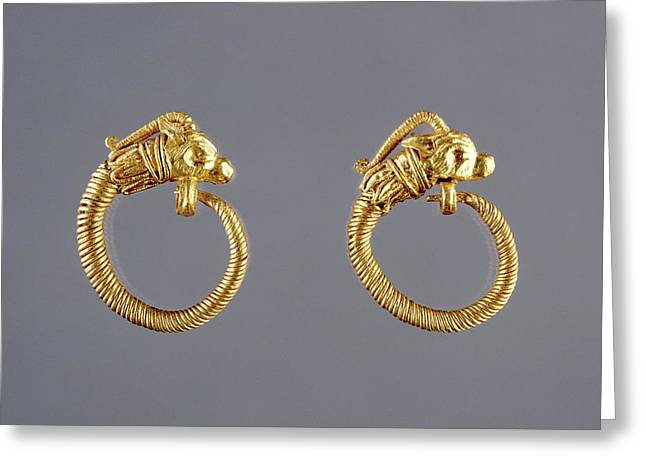 Hoop Earrings With Antelope Head Finials Unknown Alexandria Greeting Card by Litz Collection
