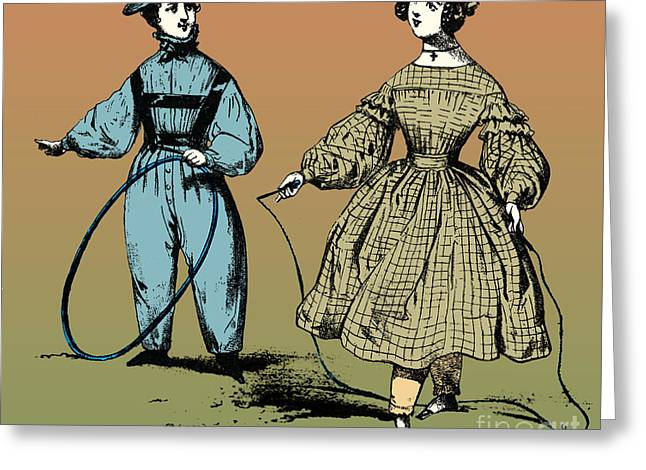 Hoop Rolling And Jump Rope, 19th Century Greeting Card by Photo Researchers