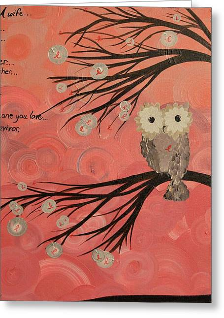 Hoo's Who Care - Find The Cure - Support Breast Cancer Awareness - Hoolandia #383 Greeting Card