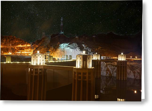 Hoover Dam Under Stars Greeting Card by Chris Bordeleau