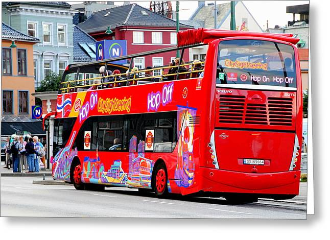 Hop On And Hop Off Bus In Bergen Greeting Card by Laurel Talabere