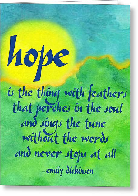Hope By Emily Dickinson Greeting Card