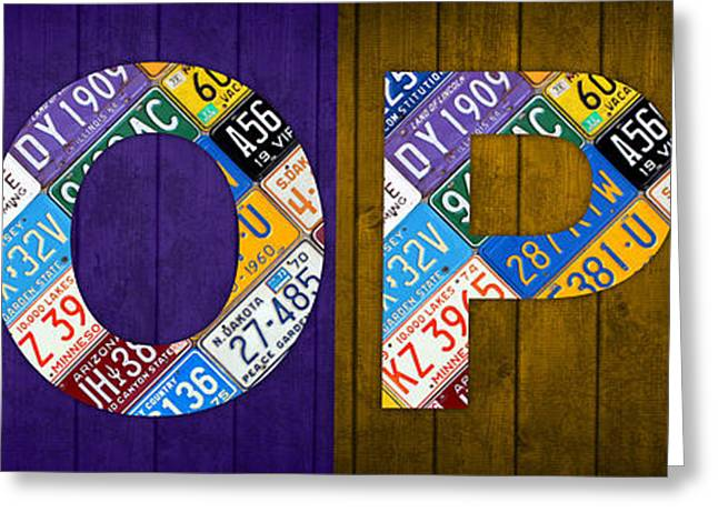 Hope Lettering Sign Kitchen Dining Room Recycled Vintage License Plate Art Greeting Card