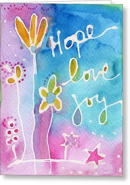 Hope Love Joy Greeting Card by Linda Woods